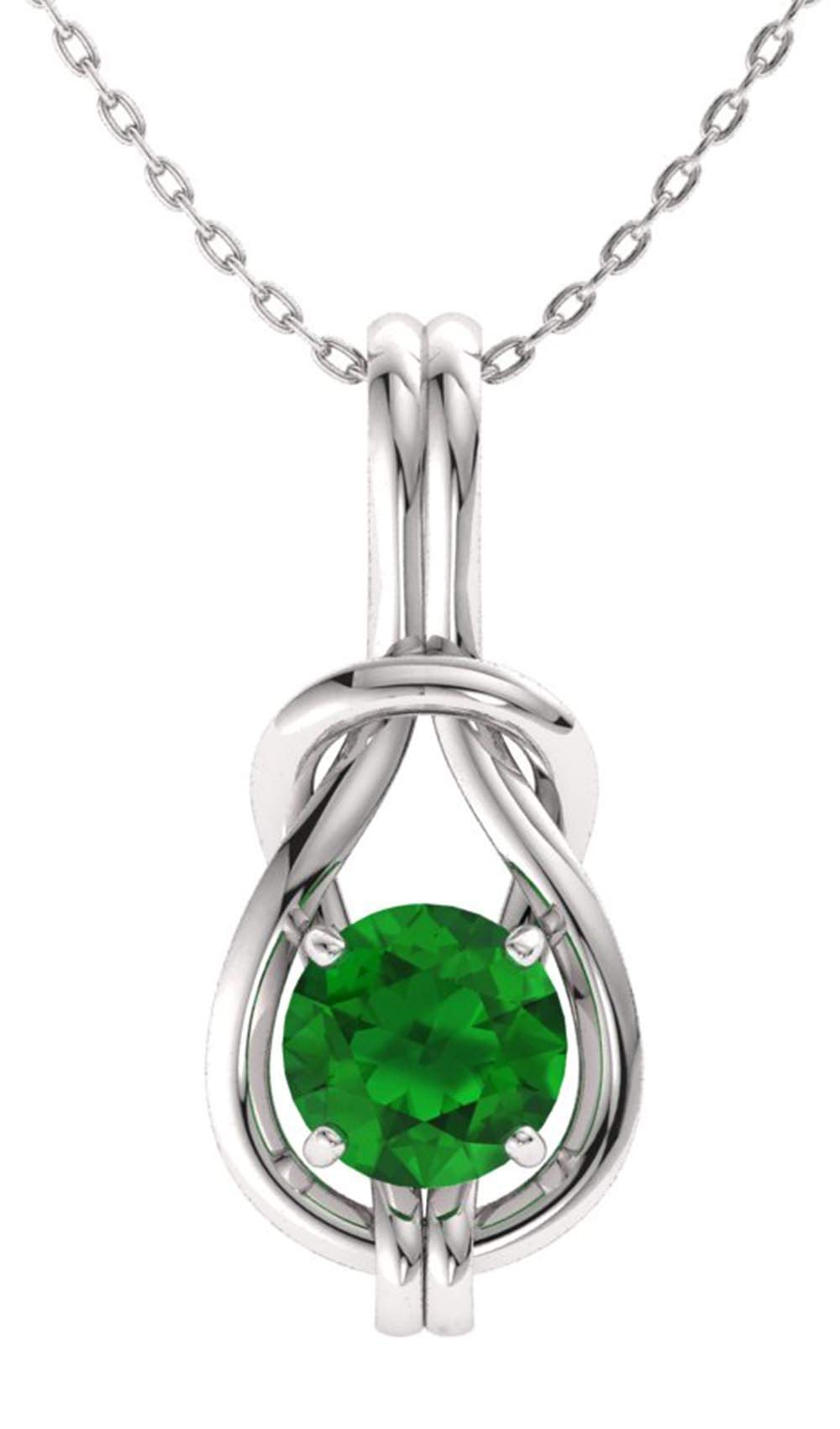 Diamondere Natural and Certified Emerald Infinity Knot Solitaire Necklace in 14k White Gold | 0.42 Carat Pendant with Chain