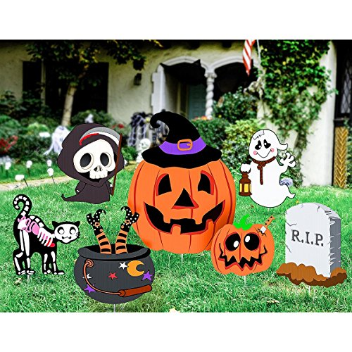 Unomor Halloween Yard Decorations Outdoor Skeleton Ghost and Pumpkin Yard Stake Signs Set, 7 Pack -