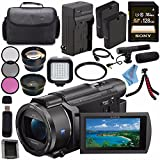 Sony FDR-AX53 FDRAX53 4K Ultra HD Handycam Camcorder + Rechargable Li-Ion Battery + Charger + Sony 128GB SDXC Card + Carrying Case + Tripod + HDMI Cable + Card Wallet + Card Reader + Fibercloth Bundle