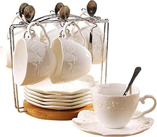 Set of 6 6 Tea Cup Set With Bracket Jusalpha white China Tea Cup and Saucer Coffee Cup Set with Saucer and Spoon