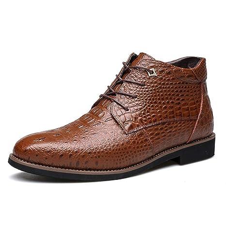 Zapatos Cuero Hombre,Popoti Zapatos Oxford Brogue Textura Encaje Boda Negocios Calzado Vestir Cremallera Derby