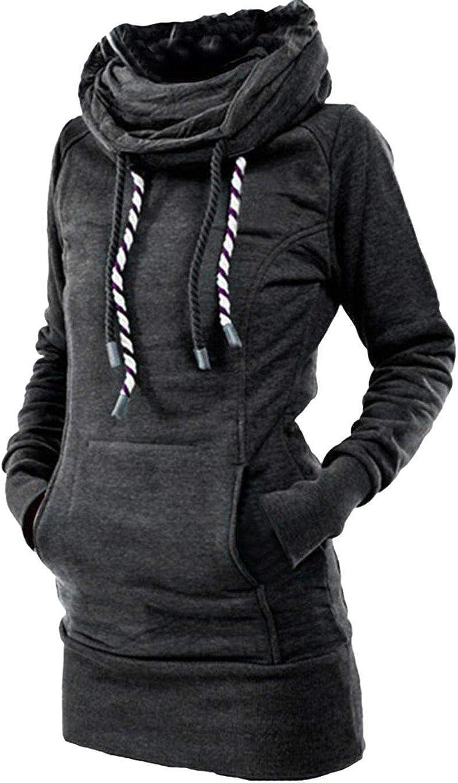 Corgy Women Casual Drape Collar Sweatshirt Long Sleeve Pullover Fashion Sweatshirts