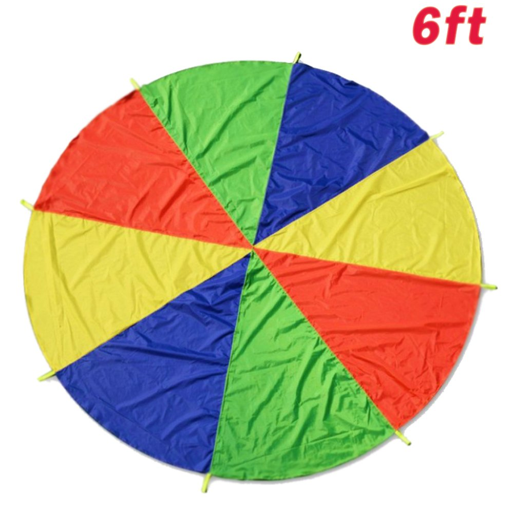 Oun Nana Play Parachute for Kids 6 Foot with 8 Reinforced Handles & Storage Bag Fun Team Children Parachute Games and Group Toy