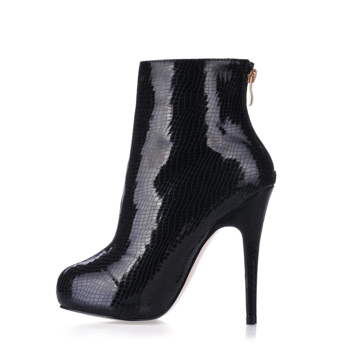 Best 4U® Frauen Stiefeletten Premium PU Gummisohle Gummisohle PU Runde Kappe 11CM High Heel 1CM Flatform Reißverschluss Stiefel Winter Schwarz - 77008f