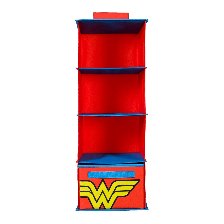 Everything Mary DC Comics Wonder Woman Hanging Closet Organizer | 4 Shelves Clothing Organizer for Closet and Bedroom Storage | DC Comics Towel Accessory Storage, Collapsible Hanging Organizer