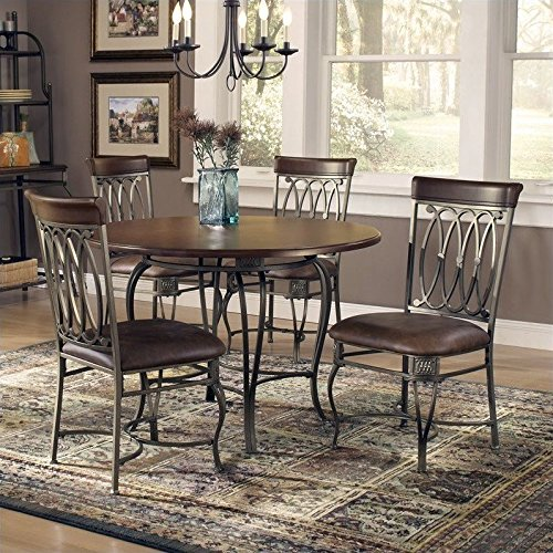 Hillsdale Montello 45-Inch 5-Piece Table Dining Set, Old Steel Finish with Brown Faux Leather, Set Includes 1-Table and 4-Chairs