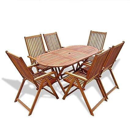 Sedie Da Giardino In Legno Di Acacia.Vidaxl Set Da Esterno 7 Pz Tavolo E Sedie Da Giardino