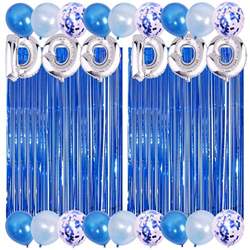 Baby Shark Birthday Party Decorations Include 2 PACK Metallic Foil Fringe, Silver Letter DOO DOO, 18 Latex Balloons for Baby 1st Birthday Baby Shark Party Supplies