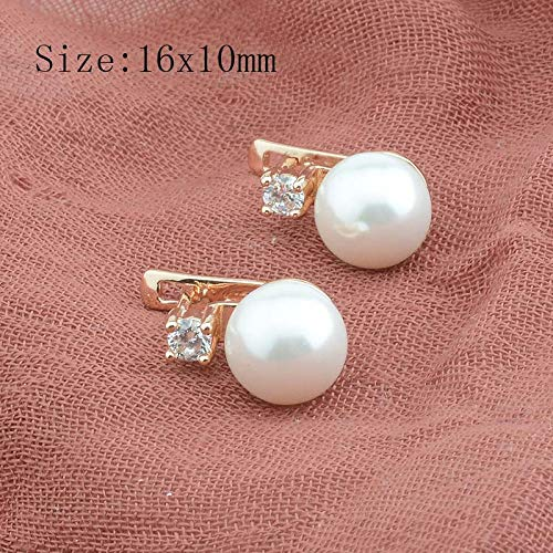 e Mixed White Gold Color Simulated Pearl Earrings White Cubic Zircon Flowers Drop Earrings-in Drop Earrings from Jewelry & Accessories ()