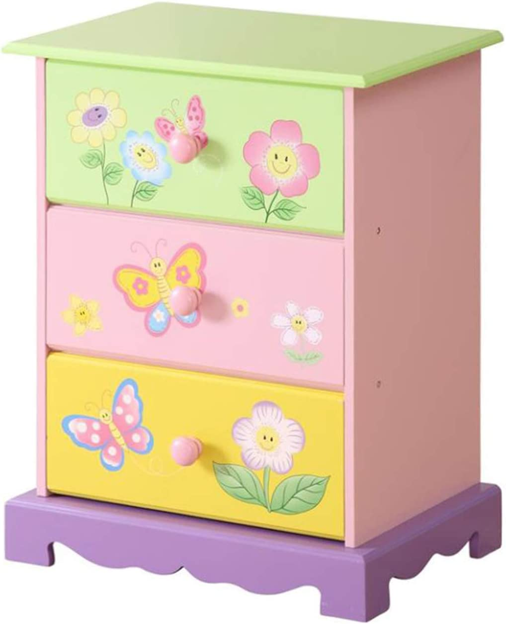 WODENY Children Storage Cabinet Drawers Wooden Kids' Furniture Organizer with Butterfly Flower Paintings Colorful (Storage Drawer)