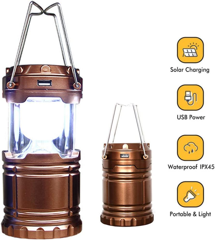 LED Solar Camping Light Outdoor Tent Garden Lantern Bright Battery Charger