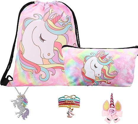 RHCPFOVR Licorne Cadeaux pour Les Filles 5 Pack Licorne Cordon Sac /à Dos//Sac /à Maquillage//Collier Pendentif Licorne//Bracelet//Cheveux Attaches