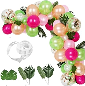 83pcs Baby Birthday Party Tropical Palm Leaves Balloon Garland Arch Decor Set UK