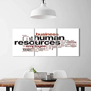 Color 3 Piece Wall Art Painting Frameless Human Resources Word Cloud Hotel Office Decor Gift Piece