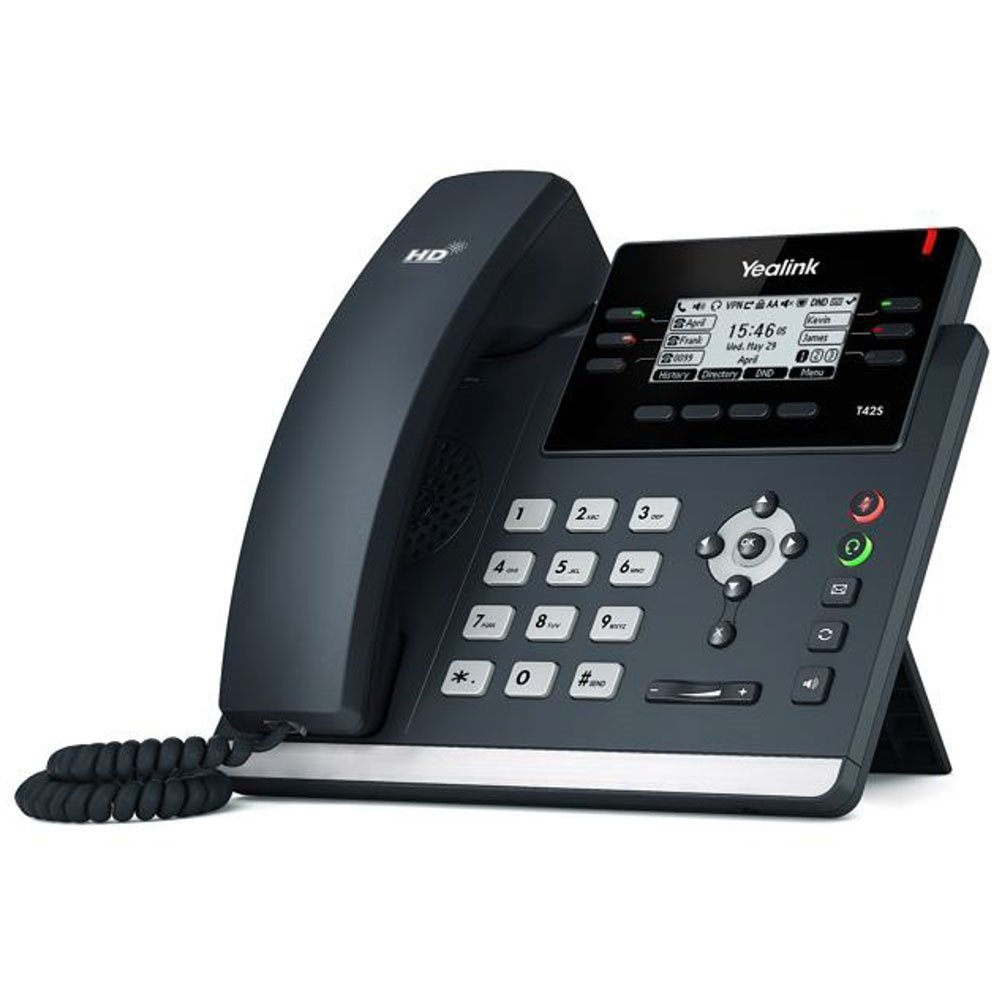 Yealink SIP-T42S/SIP-T42S-SFB PoE IP Phone (with AC adapter) - Standard SIP or Skype for Business [Choose Version]