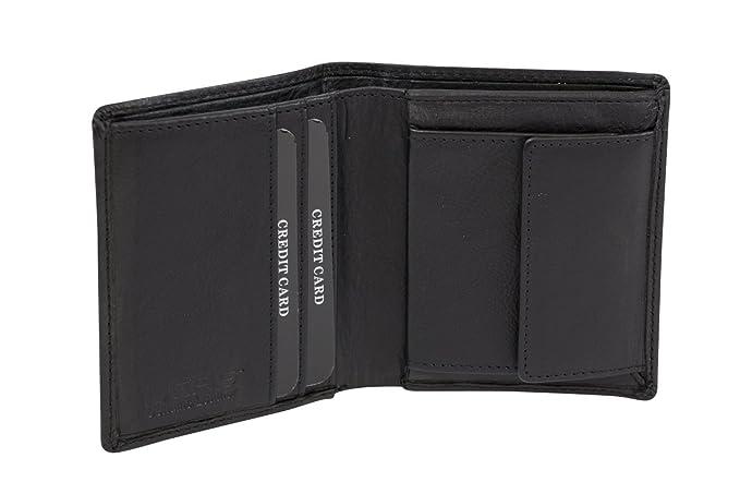 LEAS Cartera pequeña para señores Monedero para señoras RFID Monedero Protección de Informaciones privadas Cartera de Bloqueo RFID, Piel auténtica, ...