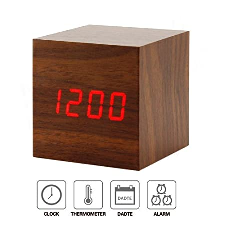 Home Cube� Wooden Square Shape (6 cm X 6 cm) Digital Electronic Alarm Table Desk Clock with Temperature + Date + Time Display XY - 022 (Brown)