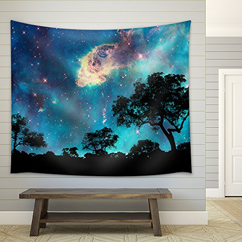 Night Landscape with Silhouette of Trees and Starry Night Fabric Wall