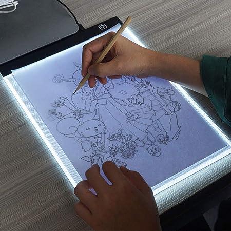 XCXDX Mesas De Luz para Calcar De Dibujo, Tablero De Copia LED, Caja De Luz De Atenuación De Tres Niveles, Almohadilla Táctil Inteligente Ultra Delgada, A4: Amazon.es: Hogar