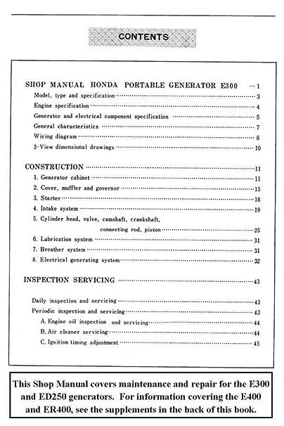 honda e300 e400 ed250 er400 generator service repair shop manual  supply_st#_hondapepubs gh83wgf5461338797: amazon ca: home & kitchen