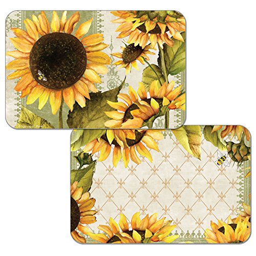 Counterart Set of 4 Reversible Wipe-Clean Decofoam Placemats, Sunflowers in Bloom