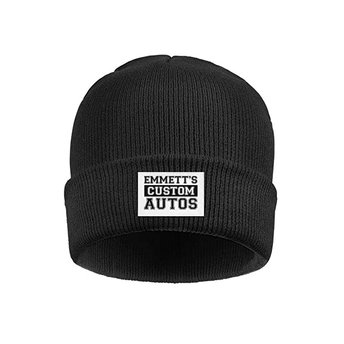 4737fc55d05 Men and Women Watch Beanie Hat Emmett s Custom Autos car Logo Fashion Fine  Knit Knit Cap