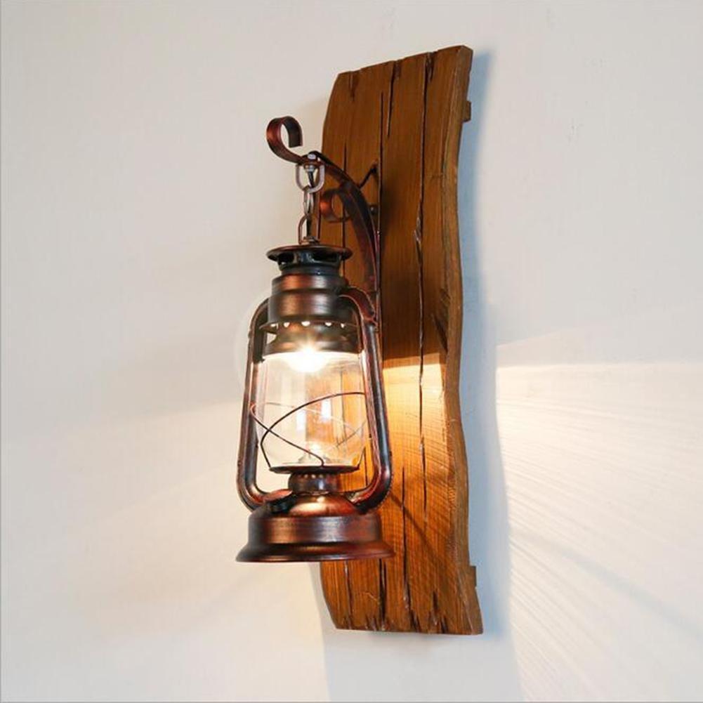 OOFAY LIGHT® Hölzern Retro Wandlampe Wandbeleuchtung Vintage Nostalgie Wandbehang Laterne Kreativ Handarbeit Mittelmeer- Rustikal Glas Wandlampen