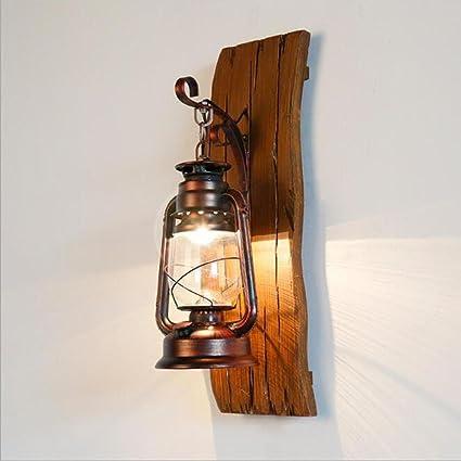 Amazon.com: OOFAY Lámpara de pared retro de madera para ...