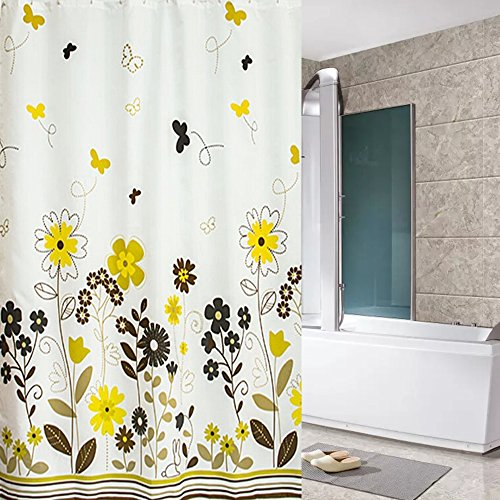 Eforcurtain Garden Floral Print Shower Curtain Waterproof/Mildew Proof Fabric Shower Curtain Liner X Long 72x78Inch, Yellow/White ()