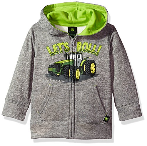 John Deere Baby Boys' Fleece Zip Poly Hoody, Grey, 3T