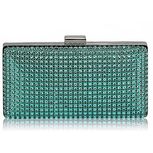 LeahWard® Diamante Braut-Hochzeit Abschlussball Kupplung Geldbörse Taschen Kristall Handtaschen 190 (Teal Sparkly Taschen)