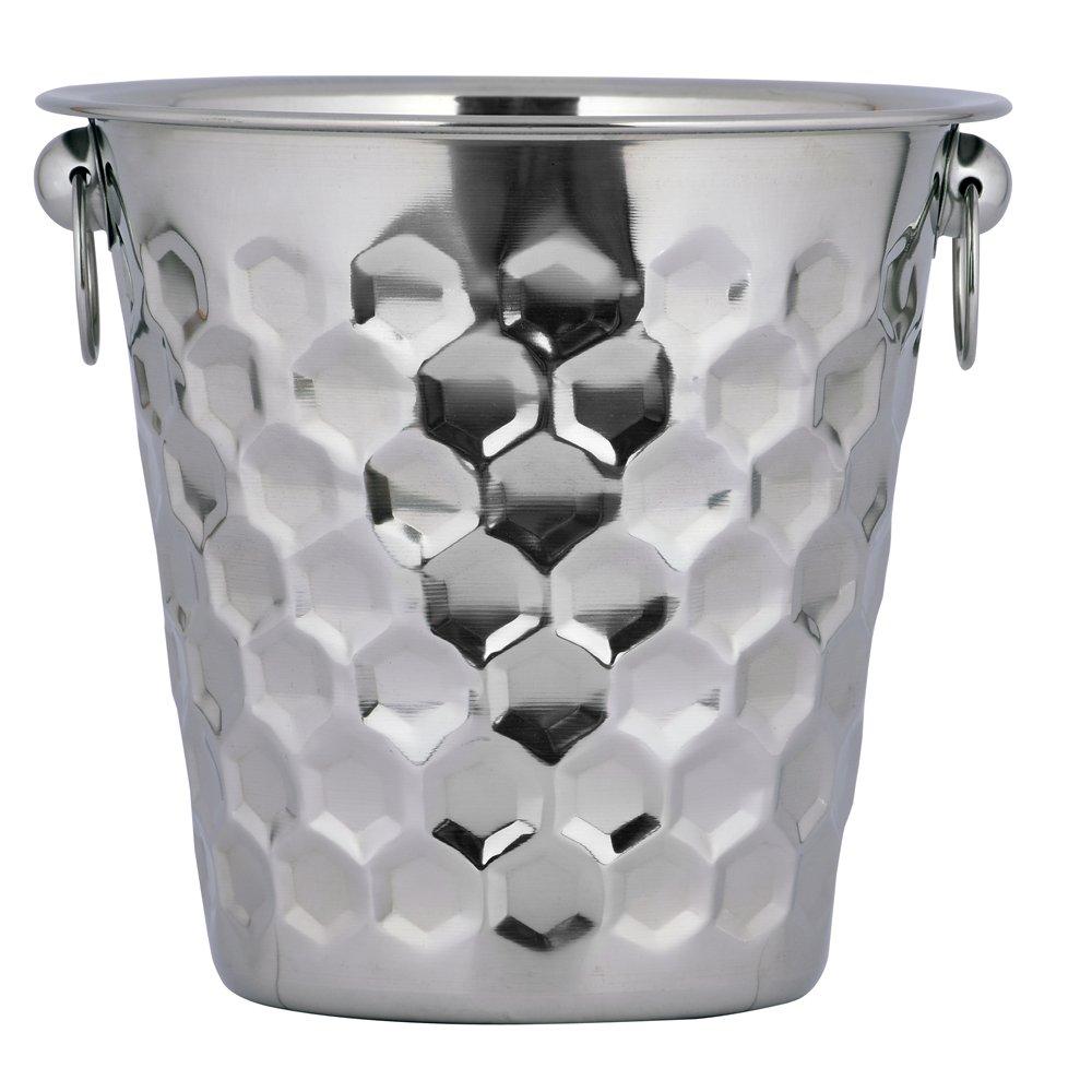 Kosma Stainless Steel Champagne Bucket | Wine Ice Bucket 21 x 21cm | Designer Beverage Bucket with Hammered Finish | Bottle Cooler (4 Quart)