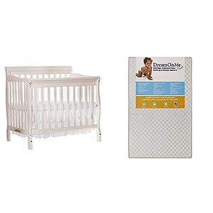 "Dream On Me Aden 4-in-1 Convertible Mini Crib with Dream On Me 3"" Portable Crib Mattress, French White"