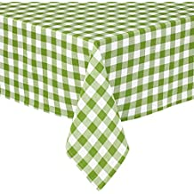 Lintex Buffalo Gingham Check Indoor/Outdoor Casual Cotton Tablecloth, Buffalo Plaid 100% Cotton Weave Kitchen, Patio and Dining Room Tablecloth 60 x 84 Oval, Apple Green
