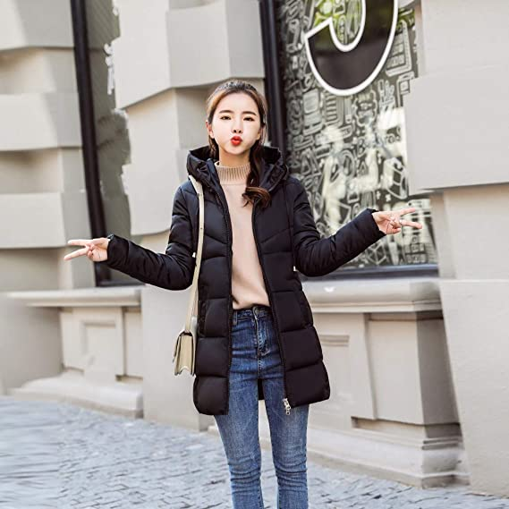 ❤ Abrigo Corto de Invierno para Mujer, Moda para Mujer Invierno Cálido de Piel sintética con Capucha Gruesa cálida Chaqueta Delgada Abrigo Largo Abrigo ...