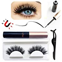 Magnetic Eyeliner and Lashes Kit, [2019 New Invention] Professional Magnetic Eyeliner For Use with Magnetic Eyelashes [GLUE FREE Magnetic Lashes with Waterproof & Long Lasting Liquid Eyeliner]
