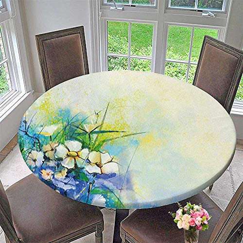 Mikihome Elasticized Table Cover Flower Petals Display Murky Artisan Sketchy Yellow Green Machine Washable 59