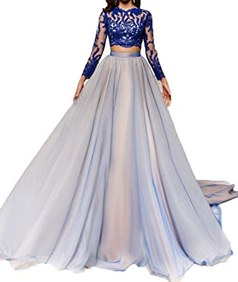 WDH Dress Two Pieces Blue Prom Dress with Long Sleeves Backless Evening Gown 6