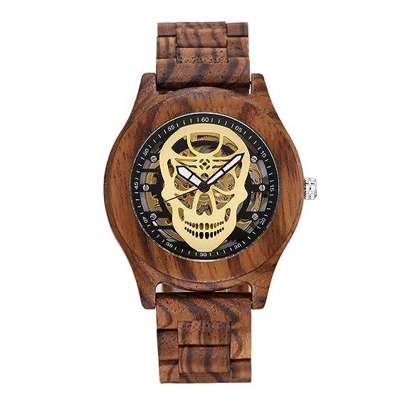 HWCOO Hermosos Relojes De Madera SHIFENMEI Wood Watch Ghost Head Tan Wood Reloj para Hombre (Color : 1): Amazon.es: Relojes