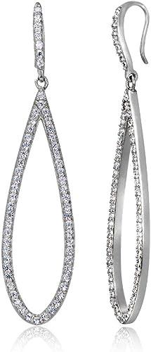 Sterling Silver CZ Open Infinity Teardrop Womens Dangle Earrings