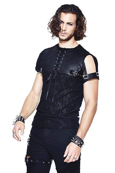 best loved 2927d 7417b Devil Fashion T-Shirt Nera Girocollo A Tinta Unita Punk Uomo ...