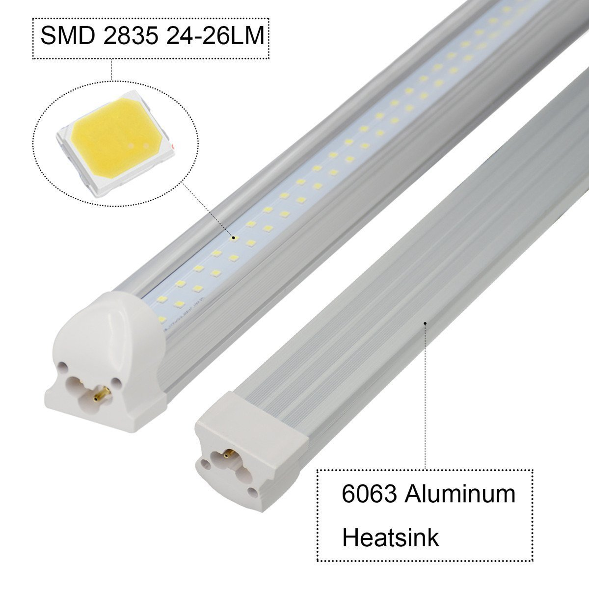 (US STOCK)CNSUNWAY 8ft T8 LED Tube, 96'' Integrated Dual Row Lighting Bulbs, 72W(150W Equivalent), 6000K Cool White Clean Lens Light, Work Without Ballast (200) by CNSUNWAY LIGHTING (Image #5)