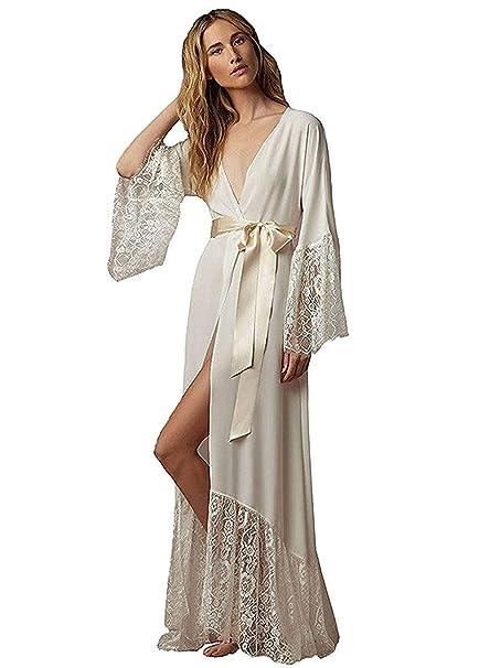 36e06d6b20 ShineGown Women s Lace Trim Kimonos Robes White Long Satin Dressing Gown  Bathrobe Sleepwear Loungewear Ivory  Amazon.co.uk  Clothing