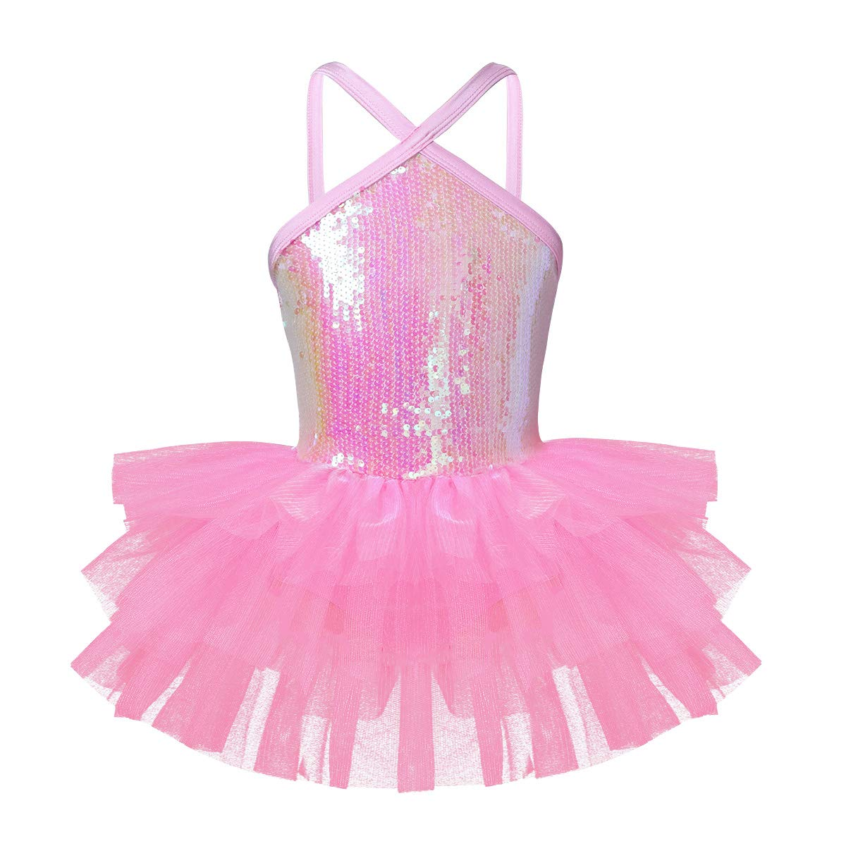 Agoky Girls Sequined Sleeveless Ballet Dance Leotard Tutu Skirted Dress Costumes Pink Halter Sequins 3 by Agoky
