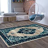 Inkberry Vintage Distressed Area Rug [3'11'' x 5'3''] Bohemian Transitional Eclectic Rug Soft Living Dining Room Multi Color Carpet