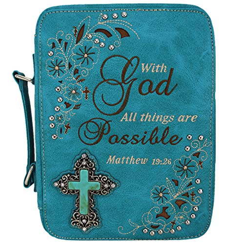 Western Style Bling Rhinestone Cross Country Women's Bible Cover Books Case Removable Strap Messenger Bag (Scriptures Turq)