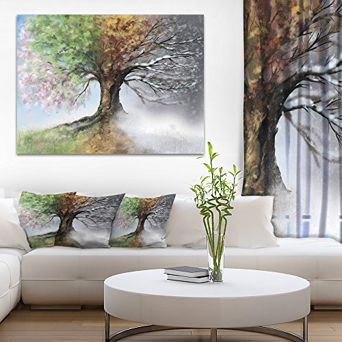 Tree with Four Seasons Tree Painting Canvas Art Print