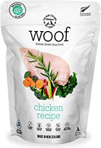 The New Zealand Natural Pet Food Co. WOOF Chicken Freeze Dried Raw Dog Food, Mixer, or Topper - High Protein, Natural, Limited Ingredient Recipe 42 oz, Brown (NZ-WFD1200C)