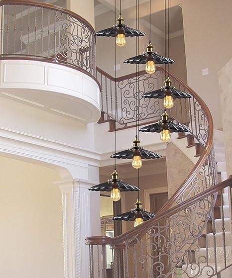 Mlshlf lamp 8 Luces Moderno Minimalista Araña Larga Escalera en Espiral Araña Villa Araña Creativa Sala de Estar nórdica Lámpara de Escalera Color Negro E27 40x200cm: Amazon.es: Hogar