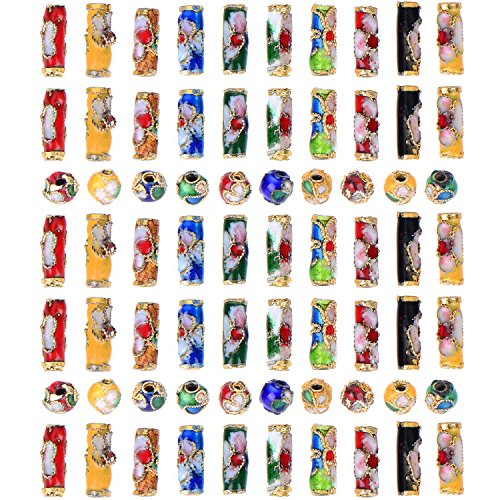TecUnite 70 Pieces Cloisonne Handmade Beads Enamel Tube Bead for Arts Crafts DIY, Assorted Shapes and (Blue Cloisonne Tube Beads)